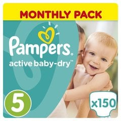 Autiņbiksītes PAMPERS Active Baby Monthly Box 5.izmērs 150 gab.