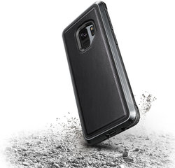 Samsung Galaxy S9+ Defense Lux Leather Cover By Xdoria Black