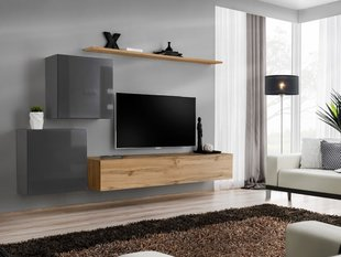 Sekcija Switch V, ozola / pelēka cena un informācija | Sekcijas | 220.lv