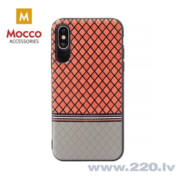 Aizsargmaciņš Mocco Trendy Grid And Stripes Silicone Back Case Apple iPhone X Red (Pattern 2)