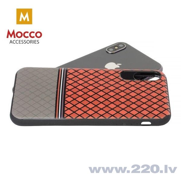 Aizsargmaciņš Mocco Trendy Grid And Stripes Silicone Back Case Apple iPhone X Red (Pattern 2) cena
