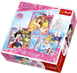 Puzles komplekts Trefl 3 in 1 Disney Princess, 20+36+50 d.