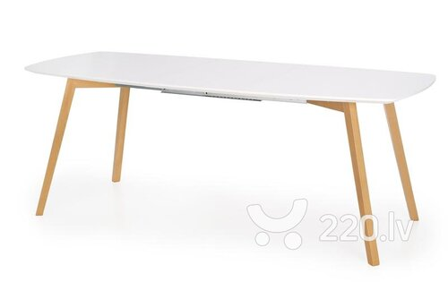 Izvelkams pusdienu galds Kajetan 150/200, balts/ozola krāsa cena un informācija | Virtuves galdi, ēdamgaldi | 220.lv