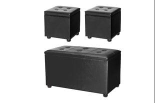 3 pufu - kastes komplekts, melns
