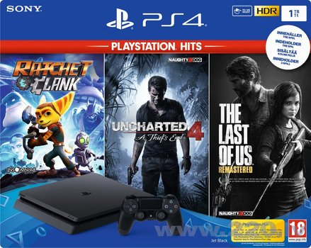 Sony PlayStation 4 (PS4) Slim 1TB + Uncharted4, Ratchet & Clank, The Last Of Us