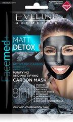 Очищающая маска для лица Eveline Facemed+ Matt Detox 8 in 12x5 мл цена и информация | Крема, сыворотки, маски для лица | 220.lv