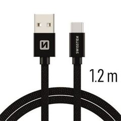Swissten Textile Universal Quick Charge 3.1 USB-C Data and Charging Cable 1.2m Black cena un informācija | Swissten Textile Universal Quick Charge 3.1 USB-C Data and Charging Cable 1.2m Black | 220.lv