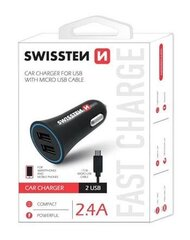 Swissten Premium Quick Charge 3.0 Car charger 12 / 24V / 2.4A / 18W + Micro USB Cable 1.5 m Black cena un informācija | Swissten Premium Quick Charge 3.0 Car charger 12 / 24V / 2.4A / 18W + Micro USB Cable 1.5 m Black | 220.lv