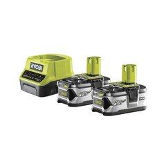 Komplekts: akumulatora lādētājs un 2 akumulatori Ryobi RC18120-240 One+, 18 V, 4 Ah