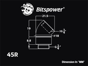 "BitsPower Angled 1/4 to G1/4 ""- 45 Degrees, rotary, White (BP-DW45R)"