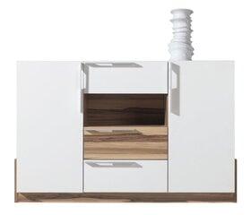 Kumode Morena 89x140x40 cm, balta / brūna cena un informācija | Kumodes, naktsskapīši | 220.lv