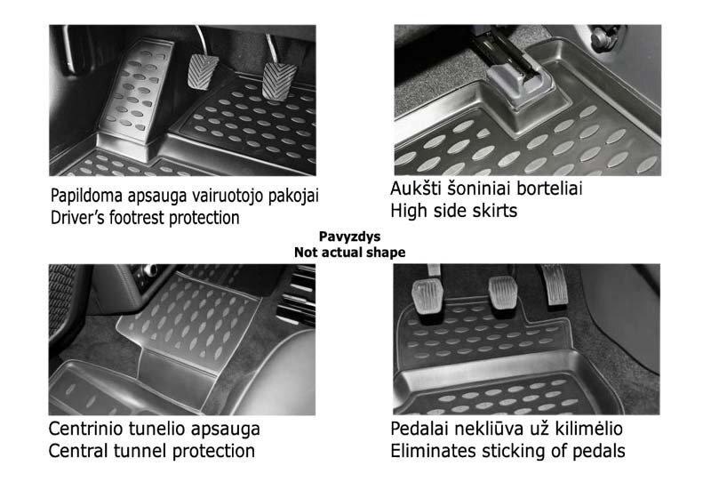 Gumijas paklāji 3D LAND ROVER Defender 110 5D 2007-2016, 3 gab. / L40006