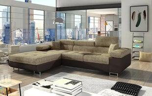 Mīksts stūra dīvāns Armando, brūns/krēmkrāsas