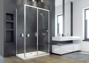 Taisnstūra dušas kabīne Besco DUO Slide, 100,110,120,130,140x195 cm