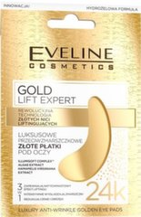 Atsvaidzinoša maska ādai ap acīm Eveline Gold Lift Expert 2 gab. cena un informācija | Acu kopšanai | 220.lv
