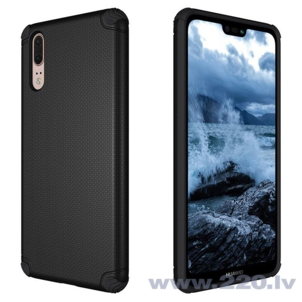 Light Armor Case Rugged Durable PC Cover priekš Huawei P20 melns