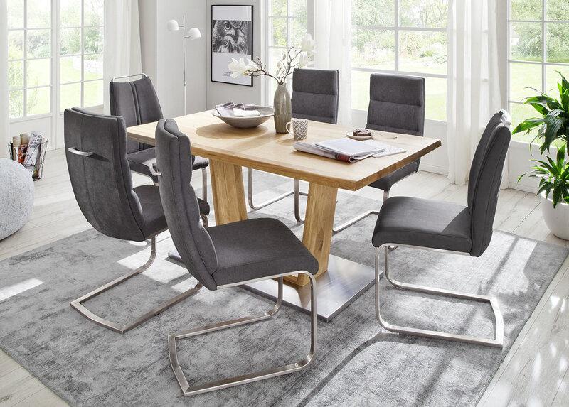 Набор из 2 стульев Giulia A, искусственная кожа и гобелен, темно-серый