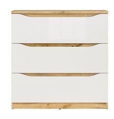 Kumode Nuis, 91,5 x 90 x 39,5 cm, ozolkoka / baltā krāsā cena un informācija | Kumodes | 220.lv