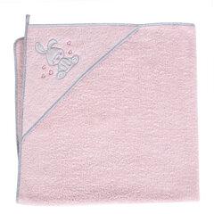 CebaBaby dvielis ar kapuci 100x100 cm, zaķi - rozā