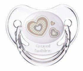 Silikona ortodontiskais knupītis Canpol Newborn, 1 gab., 0-6 mēn., 22/565, beige hearts