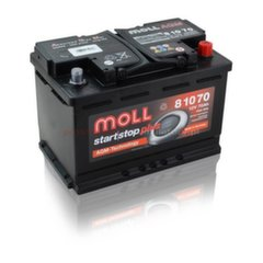 AGM akumulatoru MOLL 81070 Start-Stop Plus 70Ah 760A
