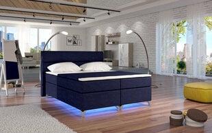 Gulta Amadeo ar LED apgaismojumu, 140x200 cm, gobelēns, tumši zila