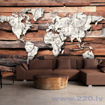 Foto tapete - Map On Wood cena un informācija   Fototapetes   220.lv