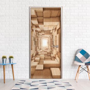 Foto tapete durvīm - Wooden Tunnel cena un informācija | Fototapetes | 220.lv