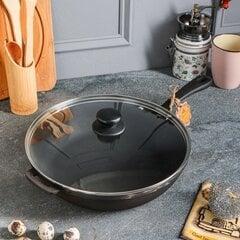 Чугунная сковорода с крышкой, 28х6 см, подходит для Kamado, T204C3 цена и информация | Чугунная сковорода с крышкой, 28х6 см, подходит для Kamado, T204C3 | 220.lv