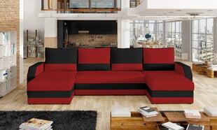 Universāls mīkstais stūra dīvāns Marion, sarkans/melns