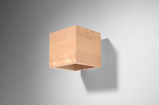 Sienas lampa Quad Natural Wood