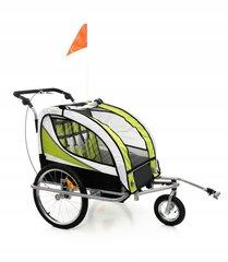 Velosipēda piekabe bērniem ar amortizatoriem un rotējošu priekšējo riteni BabyMaxi, zaļa