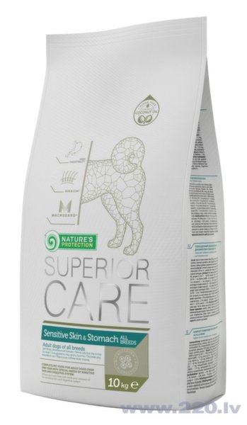 Nature's Protection Superior Care Sensitive Skin and Stomach Dog All breed mazo šķirņu suņiem ar jēru, 10 kg