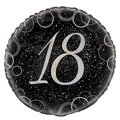 Воздушный шар из фольги «18», черный серебряный (45 см)
