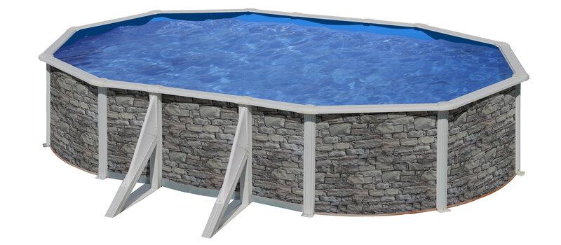 Ovāla karkasa baseins Gre Córcega ar smilšu filtru, 610x375x120 cm