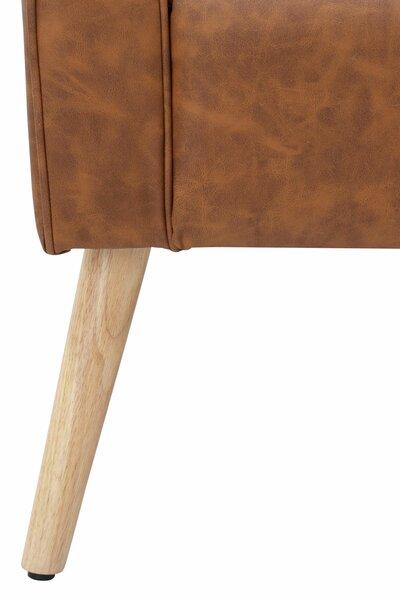 Krēsls ar pufu Mandy PU, oranžs