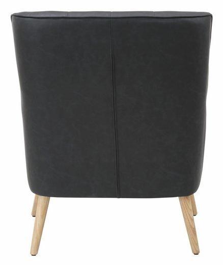 Krēsls ar pufu Mandy PU, tumši pelēks