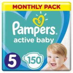 Подгузники PAMPERS Active Baby-Dry, Monthly Box, 5 размер, 11-16кг, 150 шт.
