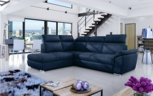 Mīksts stūra dīvāns Loreto, zils