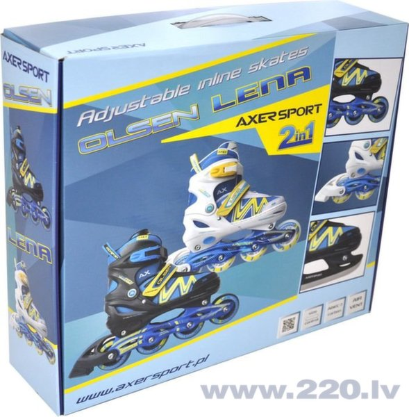 Regulējamā izmēra skrituļslidas-slidas Axer Olsen 2in1 A21040, melni/zili