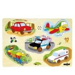 Koka puzle - transportlīdzekļiem Woody 90331 cena un informācija | Rotaļlietas zīdaiņiem | 220.lv