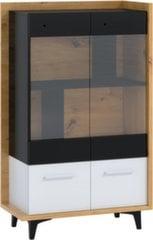 Vitrīna Meblocross Box 12 2D, baltā/ozolkoka krāsā