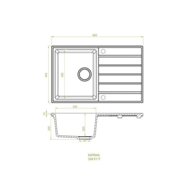Mākslīgā granīta virtuves izlietne Delinia Katrina S28, pelēka cena