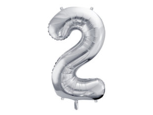"""Folijas baloni Cipars """"2"""", 86 cm, sudrabaini, 50 gab."""