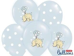 Baloni 30 cm Elephant Pastel Baby, zili, 6 gab. cena un informācija | Baloni | 220.lv