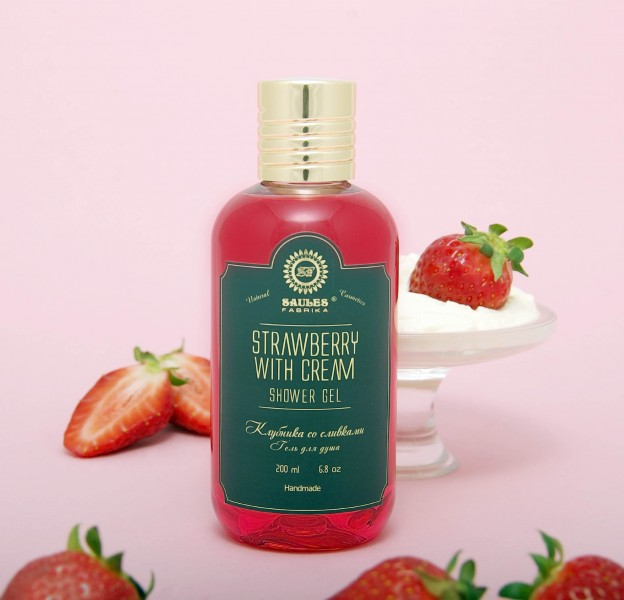 Гель для душа Saules Fabrika Strawberry with Cream 200 мл