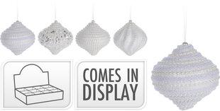 Ziemassvētku eglītes rotājumu komplekts Ornament, 12 gab., balts cena un informācija | Eglīšu rotājumi | 220.lv