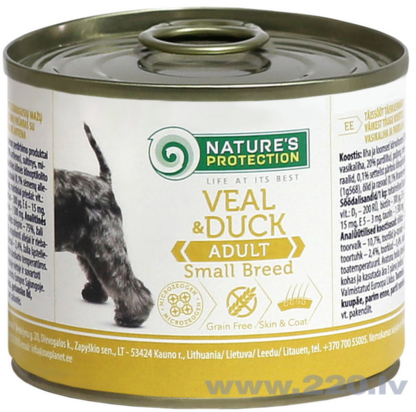 Nature's Protection Dog Adult Small Breed Veal and Duck konservi suņiem, 200g