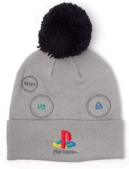 Beanie with Pompom: PlayStation - Retro Logo, Grey