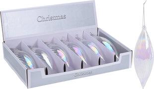 Ziemassvētku eglītes rotājumu komplekts Christmas, 6 gab., baltas/caurspīdīgas krāsas cena un informācija | Eglīšu rotājumi | 220.lv